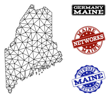 Black mesh vector map of Maine State isolated on a white background and grunge watermarks for networks. Abstract lines, dots and triangles forms map of Maine State. 向量圖像