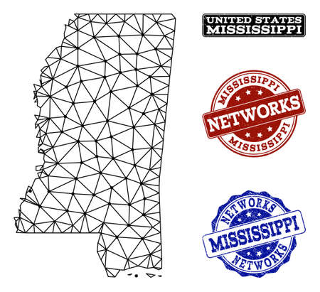Black mesh vector map of Mississippi State isolated on a white background and grunge stamp seals for networks. Abstract lines, dots and triangles forms map of Mississippi State.