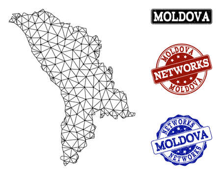 Black mesh vector map of Moldova isolated on a white background and rubber stamp seals for networks. Abstract lines, dots and triangles forms map of Moldova.