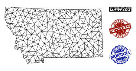 Black mesh vector map of Montana State isolated on a white background and grunge watermarks for networks. Abstract lines, dots and triangles forms map of Montana State.