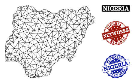 Black mesh vector map of Nigeria isolated on a white background and rubber watermarks for networks. Abstract lines, dots and triangles forms map of Nigeria.