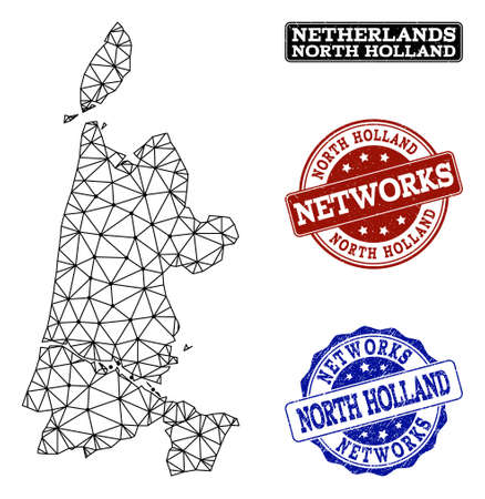 Black mesh vector map of North Holland isolated on a white background and grunge watermarks for networks. Abstract lines, dots and triangles forms map of North Holland. Stock Illustratie