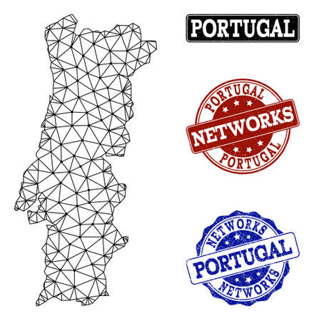 Black mesh vector map of Portugal isolated on a white background and rubber watermarks for networks. Abstract lines, dots and triangles forms map of Portugal.