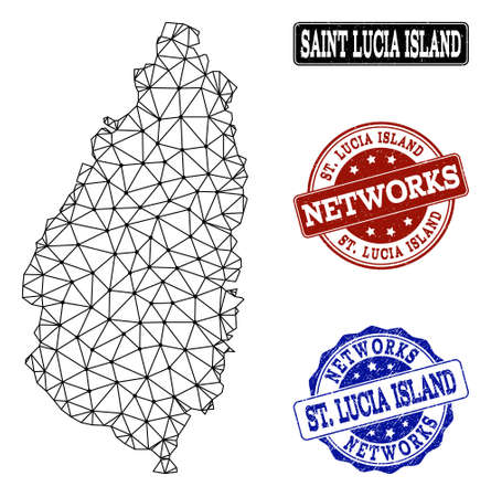 Black mesh vector map of Saint Lucia Island isolated on a white background and scratched stamp seals for networks. Abstract lines, dots and triangles forms map of Saint Lucia Island.