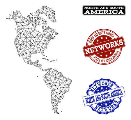 Black mesh vector map of South and North America isolated on a white background and grunge watermarks for networks. Abstract lines, dots and triangles forms map of South and North America.