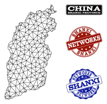 Black mesh vector map of Shanxi Province isolated on a white background and scratched stamp seals for networks. Abstract lines, dots and triangles forms map of Shanxi Province.