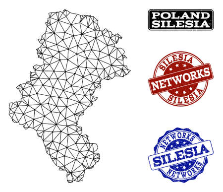 Black mesh vector map of Silesia Province isolated on a white background and rubber watermarks for networks. Abstract lines, dots and triangles forms map of Silesia Province.