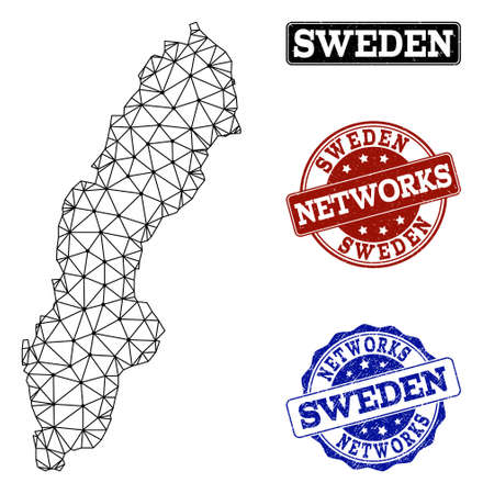 Black mesh vector map of Sweden isolated on a white background and scratched stamp seals for networks. Abstract lines, dots and triangles forms map of Sweden. Иллюстрация