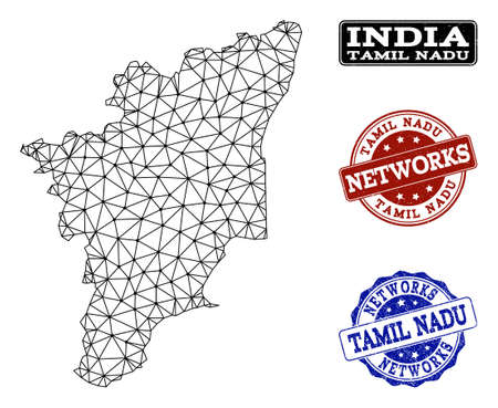 Black mesh vector map of Tamil Nadu State isolated on a white background and grunge watermarks for networks. Abstract lines, dots and triangles forms map of Tamil Nadu State.