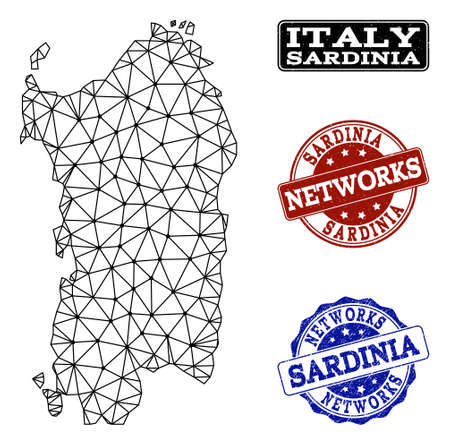 Black mesh vector map of Sardinia region isolated on a white background and scratched watermarks for networks. Abstract lines, dots and triangles forms map of Sardinia region.