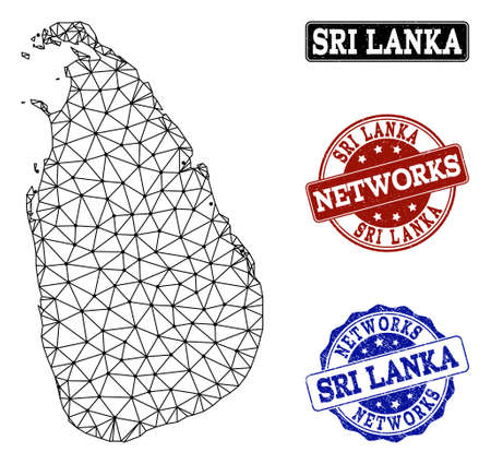 Black mesh vector map of Sri Lanka isolated on a white background and rubber stamp seals for networks. Abstract lines, dots and triangles forms map of Sri Lanka.