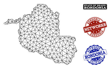 Black mesh vector map of Rondonia State isolated on a white background and grunge stamp seals for networks. Abstract lines, dots and triangles forms map of Rondonia State.