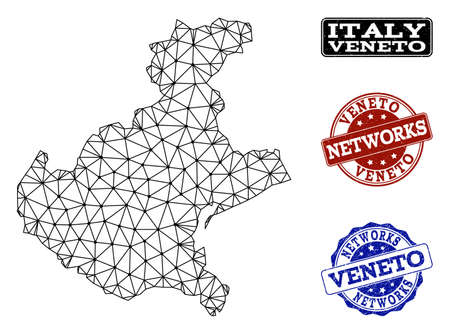 Black mesh vector map of Veneto region isolated on a white background and grunge watermarks for networks. Abstract lines, dots and triangles forms map of Veneto region.