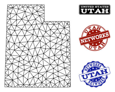 Black mesh vector map of Utah State isolated on a white background and rubber stamp seals for networks. Abstract lines, dots and triangles forms map of Utah State. Ilustração