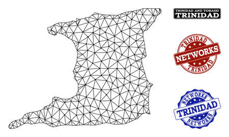 Black mesh vector map of Trinidad Island isolated on a white background and rubber stamp seals for networks. Abstract lines, dots and triangles forms map of Trinidad Island. Иллюстрация