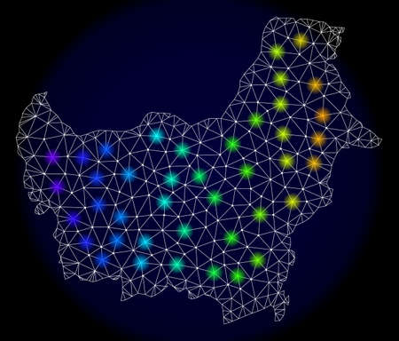 Mesh vector map of Borneo Island with glare effect. Light spots have bright spectrum colors. Abstract lines, triangles, light spots and points on a dark background with map of Borneo Island. Illustration