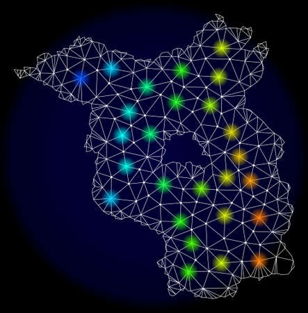 Mesh vector map of Brandenburg State with glare effect. Light spots have bright spectrum colors. Abstract lines, triangles, light spots and points on a dark background with map of Brandenburg State.