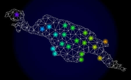 Mesh vector map of New Guinea Island with glare effect. Light spots have bright spectrum colors. Abstract lines, triangles, light spots and points on a dark background with map of New Guinea Island.
