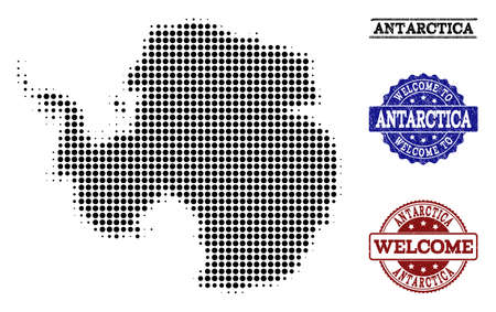 Welcome composition of halftone map of Antarctica and corroded seals. Halftone map of Antarctica designed with black round dots.