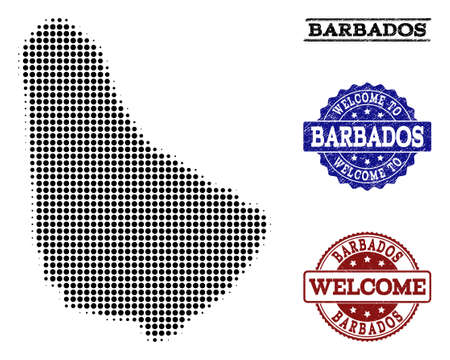 Welcome composition of halftone map of Barbados and rubber watermarks. Halftone map of Barbados designed with black circle pixels.