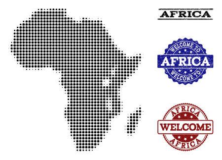 Welcome combination of halftone map of Africa and rubber watermarks. Halftone map of Africa constructed with black circle pixels.