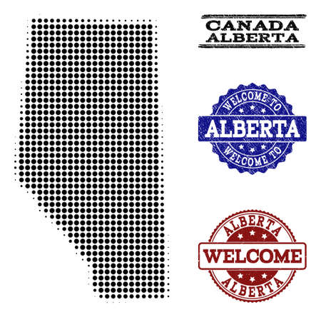 Welcome composition of halftone map of Alberta Province and rubber seals. Halftone map of Alberta Province constructed with black circle points. Ilustração