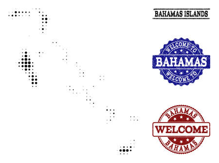 Welcome combination of halftone map of Bahamas Islands and rubber watermarks. Halftone map of Bahamas Islands constructed with black round dots.