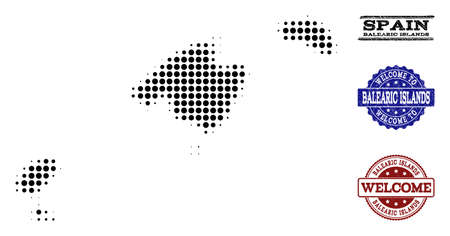 Welcome combination of halftone map of Balearic Islands and scratched watermarks. Halftone map of Balearic Islands constructed with black circle pixels. Vecteurs
