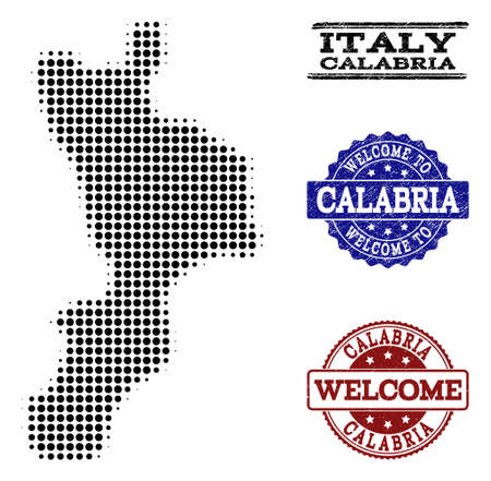 Welcome combination of halftone map of Calabria region and rubber seals. Halftone map of Calabria region constructed with black round points.