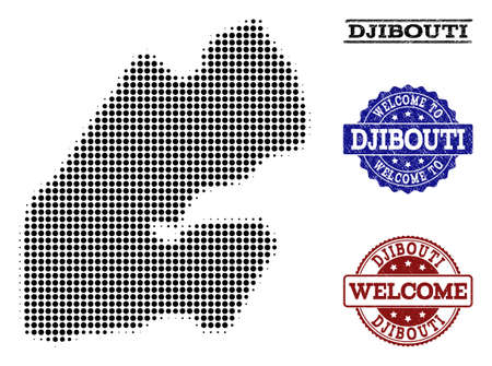 Welcome composition of halftone map of Djibouti and textured watermarks. Halftone map of Djibouti designed with black spheric pixels.