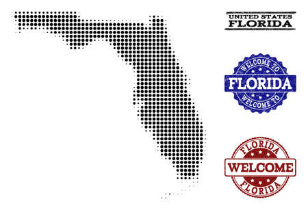 Welcome collage of halftone map of Florida State and rubber watermarks. Halftone map of Florida State constructed with black circle elements.