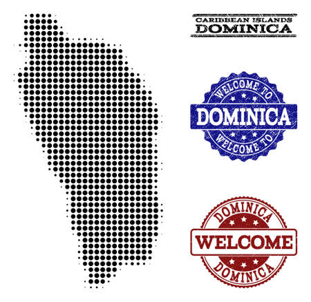 Welcome collage of halftone map of Dominica Island and rubber stamps. Halftone map of Dominica Island designed with black round elements.