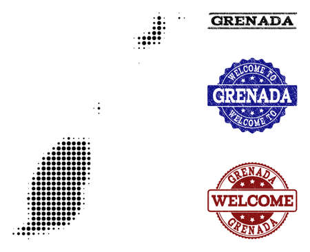 Welcome combination of halftone map of Grenada Islands and rubber watermarks. Halftone map of Grenada Islands designed with black circle pixels.