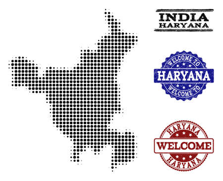 Welcome collage of halftone map of Haryana State and rubber stamps. Halftone map of Haryana State designed with black spheric pixels.