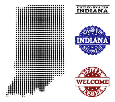 Welcome combination of halftone map of Indiana State and corroded watermarks. Halftone map of Indiana State designed with black round dots. Illustration