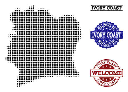 Welcome composition of halftone map of Ivory Coast and rubber seals. Halftone map of Ivory Coast designed with black round points. Vectores