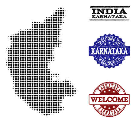 Welcome collage of halftone map of Karnataka State and grunge seals. Halftone map of Karnataka State constructed with black round pixels.