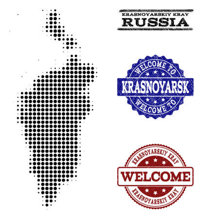Welcome combination of halftone map of Krasnoyarskiy Kray and rubber seal stamps. Halftone map of Krasnoyarskiy Kray constructed with black round points.
