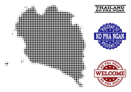 Welcome combination of halftone map of Ko Pha Ngan and grunge stamps. Halftone map of Ko Pha Ngan constructed with black circle elements.