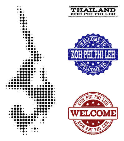 Welcome collage of halftone map of Koh Phi Leh and textured seals. Halftone map of Koh Phi Leh constructed with black spheric elements.  イラスト・ベクター素材