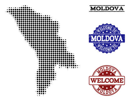 Welcome collage of halftone map of Moldova and unclean stamps. Halftone map of Moldova constructed with black circle pixels.  イラスト・ベクター素材