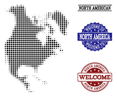Welcome collage of halftone map of North America and rubber watermarks. Halftone map of North America designed with black spheric points.