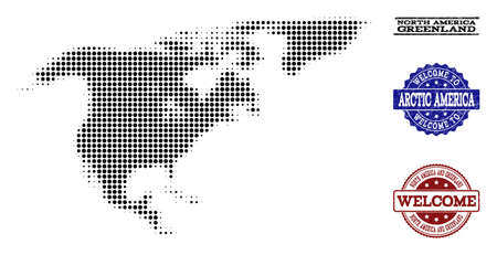 Welcome combination of halftone map of North America and Greenland and rubber watermarks. Halftone map of North America and Greenland constructed with black round items.