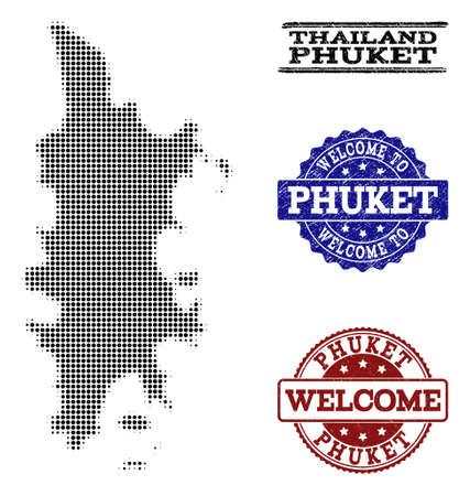 Welcome composition of halftone map of Phuket and unclean seal stamps. Halftone map of Phuket designed with black circle points.