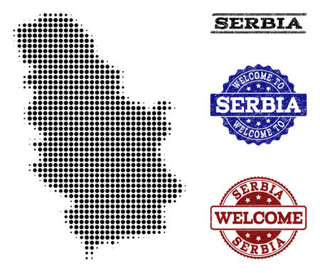 Welcome combination of halftone map of Serbia and scratched watermarks. Halftone map of Serbia designed with black spheric elements.