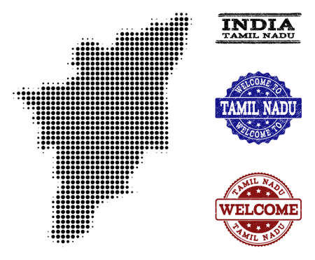 Welcome combination of halftone map of Tamil Nadu State and rubber seals. Halftone map of Tamil Nadu State constructed with black round pixels. Vector Illustration
