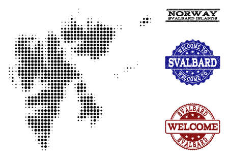 Welcome combination of halftone map of Svalbard Islands and corroded seals. Halftone map of Svalbard Islands constructed with black round items.