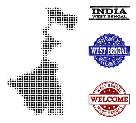 Welcome combination of halftone map of West Bengal State and rubber seal stamps. Halftone map of West Bengal State designed with black round pixels. Illustration
