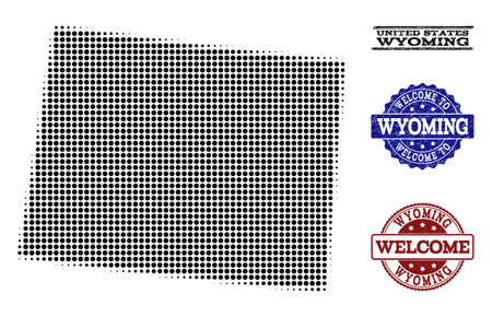 Welcome combination of halftone map of Wyoming State and corroded watermarks. Halftone map of Wyoming State designed with black circle elements.