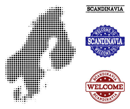 Welcome composition of halftone map of Scandinavia and corroded stamps. Halftone map of Scandinavia constructed with black round dots.